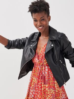 Veste droite esprit biker noir femme