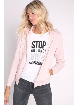 Sweat zippe capuche rose clair femme