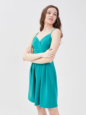 Robe evasee avec bretelles vert emeraude femme
