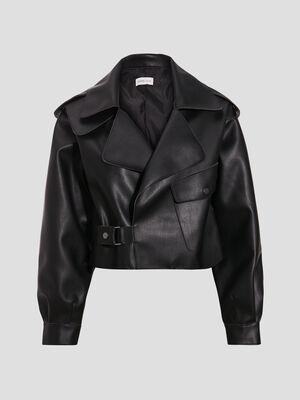 Veste droite asymetrique noir femme