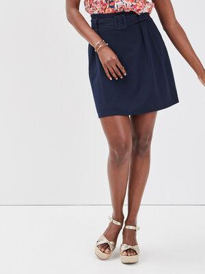 Jupe droite taille ceinturee bleu marine femme