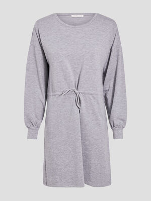 Robe droite taille a coulisse gris clair femme