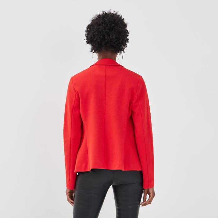 Veste blazer droite boutonné rouge femme
