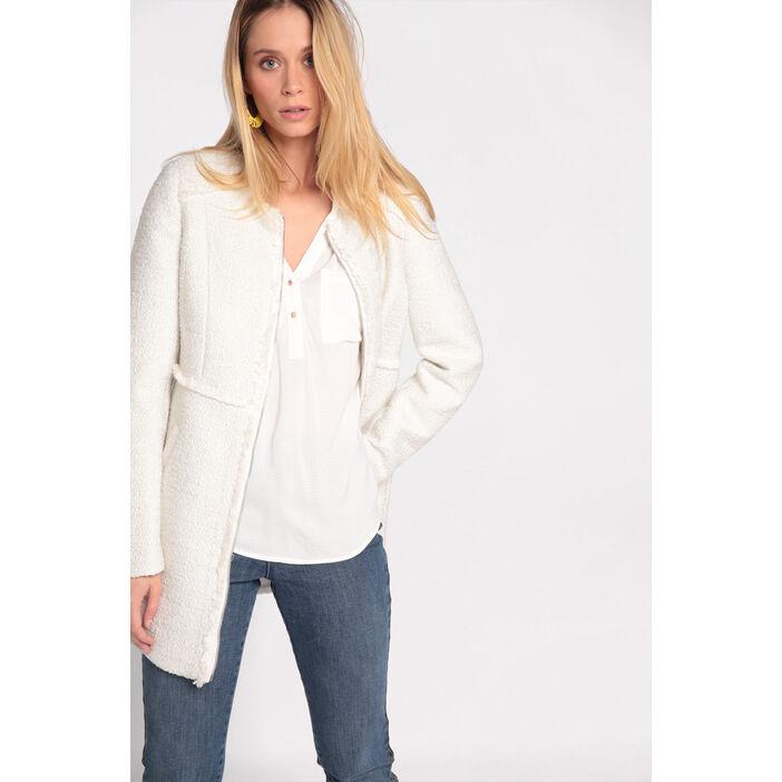 style moderne meilleur prix le plus populaire Manteau léger mi-long zippé ecru femme | Vib's