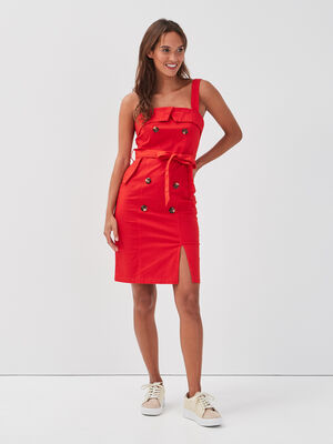 Robe midi ajustee a boutons rouge femme
