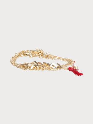 Lot 5 bracelets de cheville couleur or femme