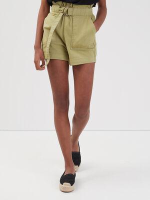 Short ample taille haute vert kaki femme