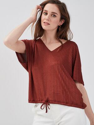 T shirt manches courtes cotele orange fonce femme