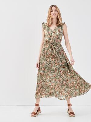 Robe longue evasee ceinturee vert fonce femme