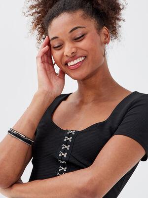 Bustier manches courtes noir femme
