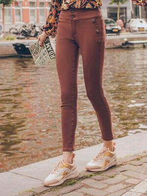 Pantalon skinny effet pont marron cognac femme