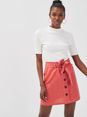 Jupe ceinturee lin rose femme