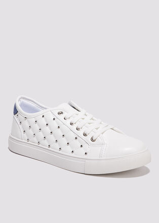 Sneakers matelassees bleu femme