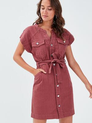Robe droite ceinturee vieux rose femme