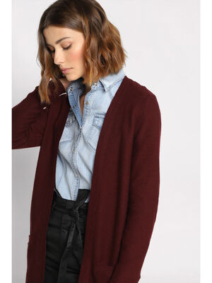 Gilet manches longues a poches violet fonce femme