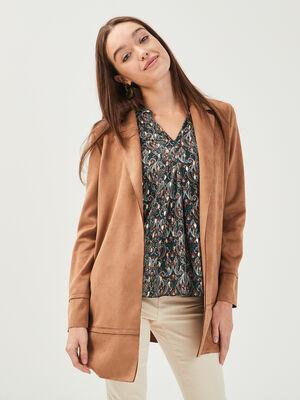 Manteau droit effet suedine beige femme