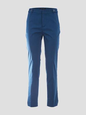 Pantalon cigarette bleu canard femme