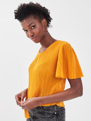 T shirt manches courtes plisse jaune fonce femme