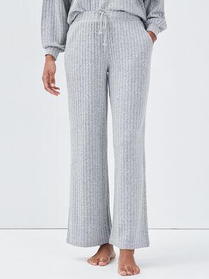 Pantalon pyjama cotele gris fonce femme