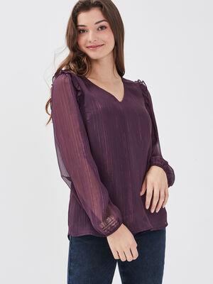 Blouse manches longues violet fonce femme