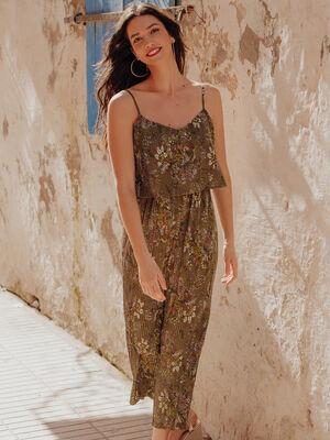 Combinaison pantalon plissee vert olive femme