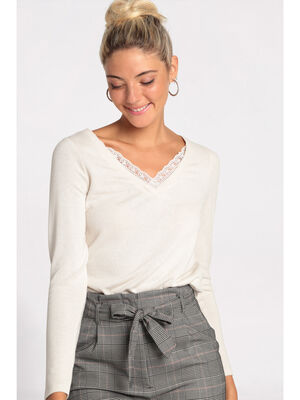 Pull manches longues beige femme