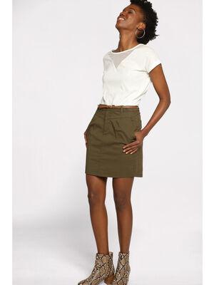 Jupe chino courte ceinture vert kaki femme