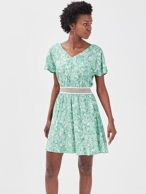 Robe evasee detail dos vert clair femme