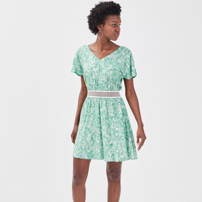 Robe évasée détail dos vert clair femme
