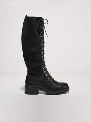 Bottes hautes plates a lacets noir femme