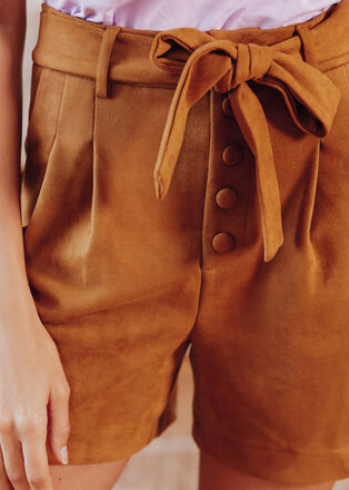 Short paperbag effet suedine marron cognac femme