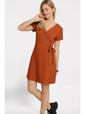 Robe courte evasee nouee rouge fonce femme