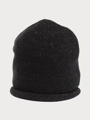 Bonnet tricote bord recourbe noir femme