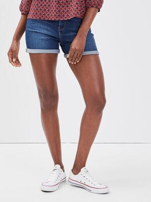 Short droit en jean denim stone femme