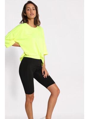 Short taille haute cycliste jaune femme