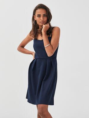 Robe evasee bretelles fines bleu marine femme