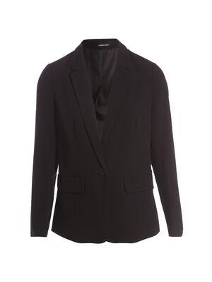 Veste blazer droite col crante noir femme