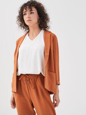 Veste blazer droite fluide orange fonce femme