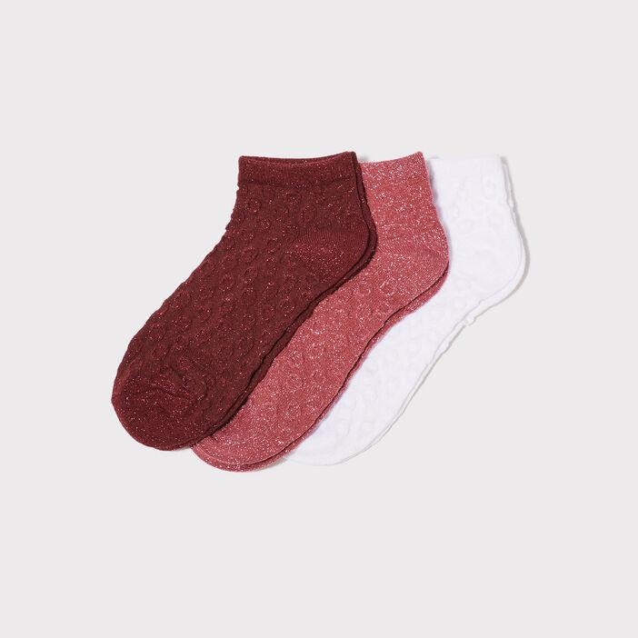 Lot 3 paires socquettes mauve femme