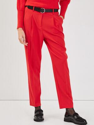 Pantalon city ceinture rouge fluo femme