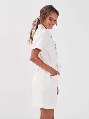 Robe droite zippee ceinturee ecru femme