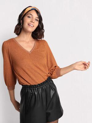 T shirt manches 34 marron femme