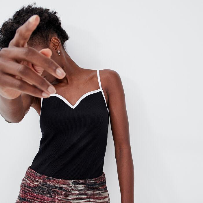 Body bretelles fines noir femme