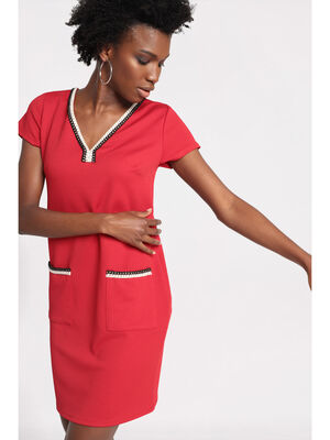 Robe droite details broderie rouge femme