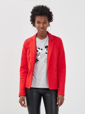 Veste blazer droite boutonne rouge femme