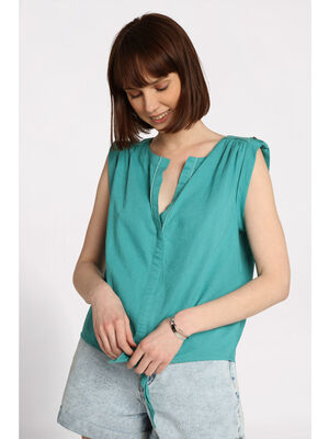 Blouse manches courtes nouee bleu turquoise femme