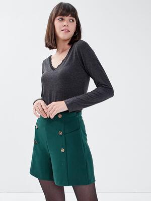 Short droit avec boutons vert fonce femme