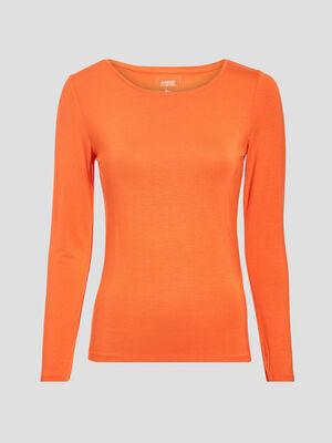 T shirt uni a manches longues orange femme