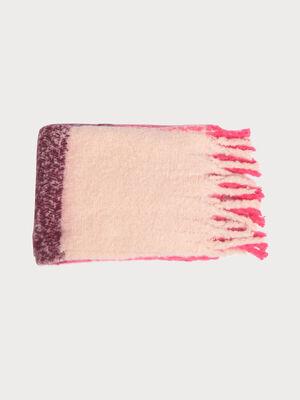 charpe a franges tressees rose fushia femme