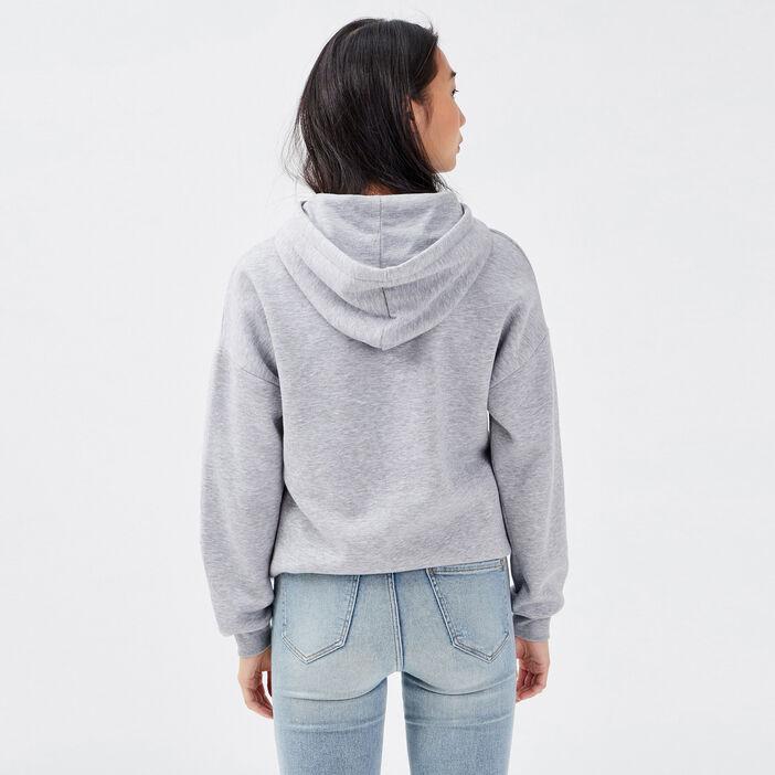 Sweat à capuche gris clair femme